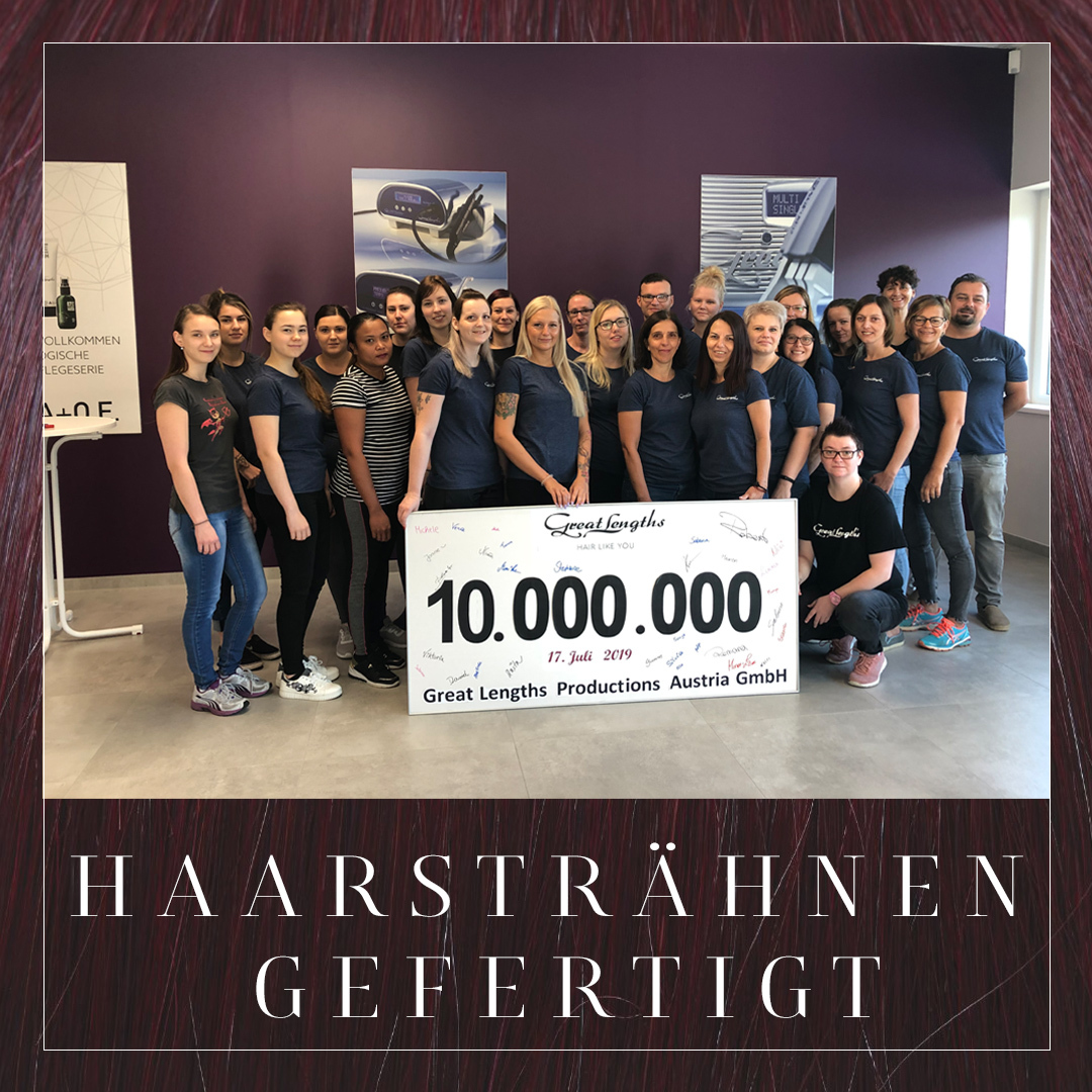 10.000.000 Haarsträhnen gefertigt (© Great Lengths)