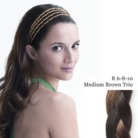 THE 4 BRAID BAND medium brown trio:  (© Great Lengths)