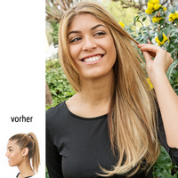 "22"" Clip in Straight, vorher-nachher:  (© Great Lengths)"